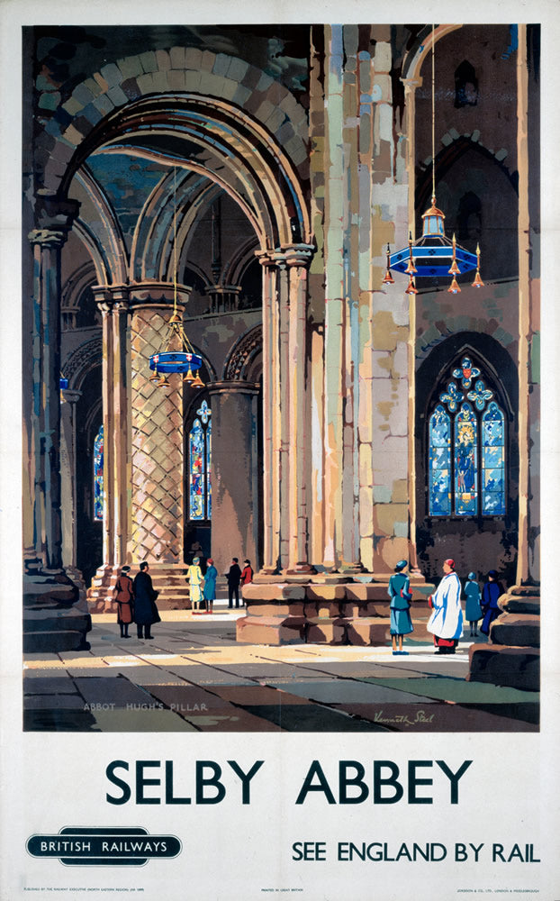 "Selby Abbey See England by Rail 24"" x 32"" Matte Mounted Print"