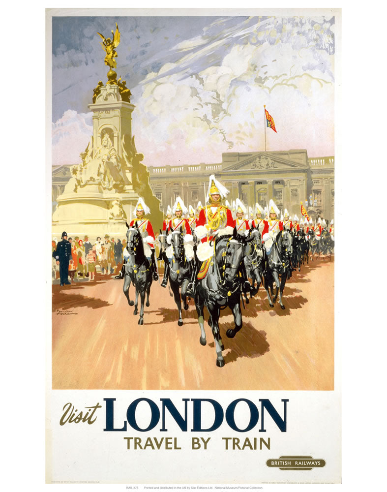"visit London travel by train 24"" x 32"" Matte Mounted Print"