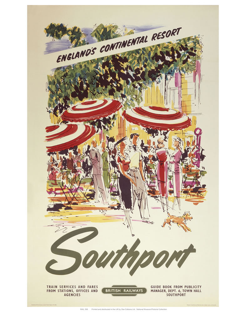 "Southport England's Continental Resort 24"" x 32"" Matte Mounted Print"