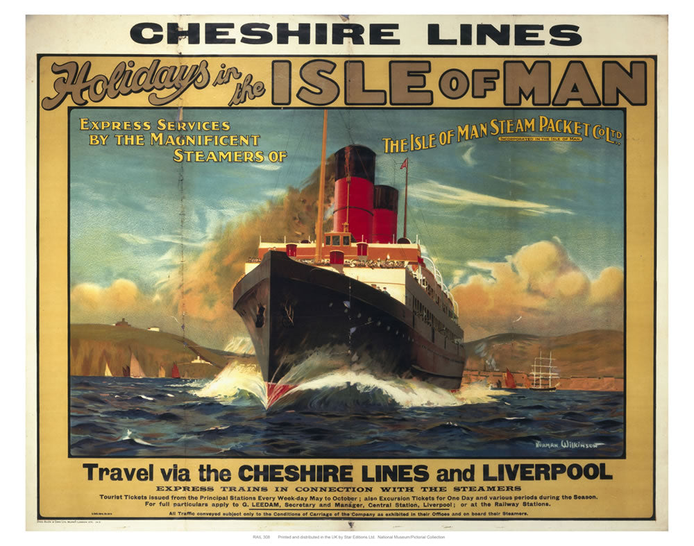 "Cheshire Lines Isle of Man 24"" x 32"" Matte Mounted Print"