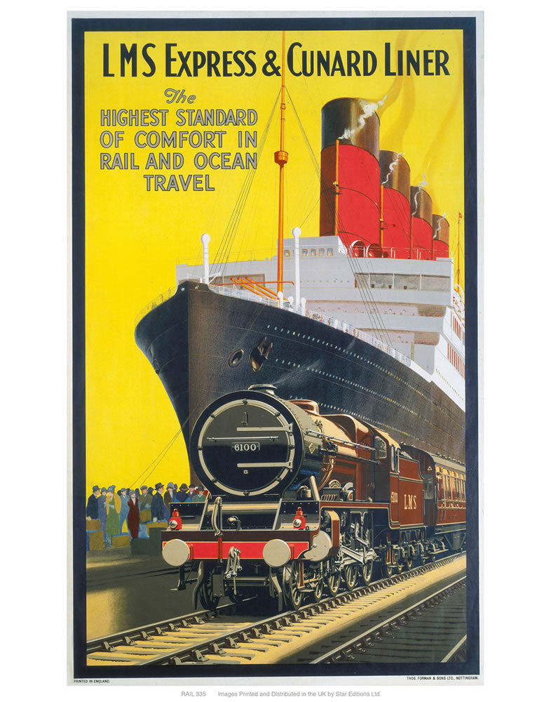"LMS express and Cunard liner 24"" x 32"" Matte Mounted Print"