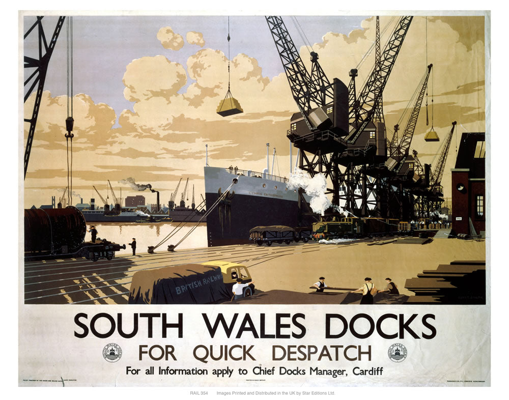 "South Wales docks 24"" x 32"" Matte Mounted Print"