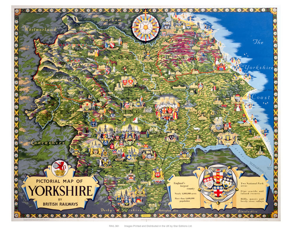 "pictorial map of Yorkshire 24"" x 32"" Matte Mounted Print"