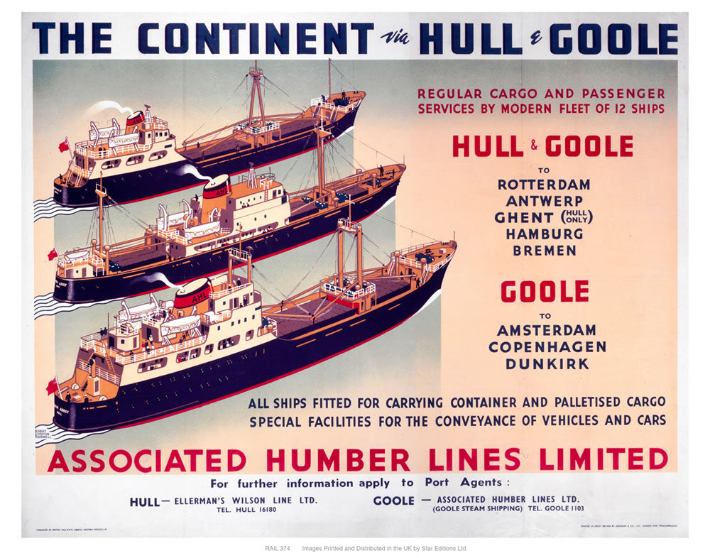 "The continent via Hull and Goole 24"" x 32"" Matte Mounted Print"