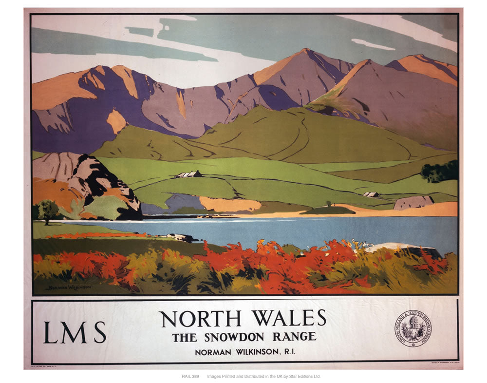 "North Wales the Snowdon range 24"" x 32"" Matte Mounted Print"