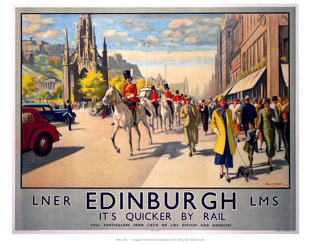 "Edinburgh by rail 24"" x 32"" Matte Mounted Print"