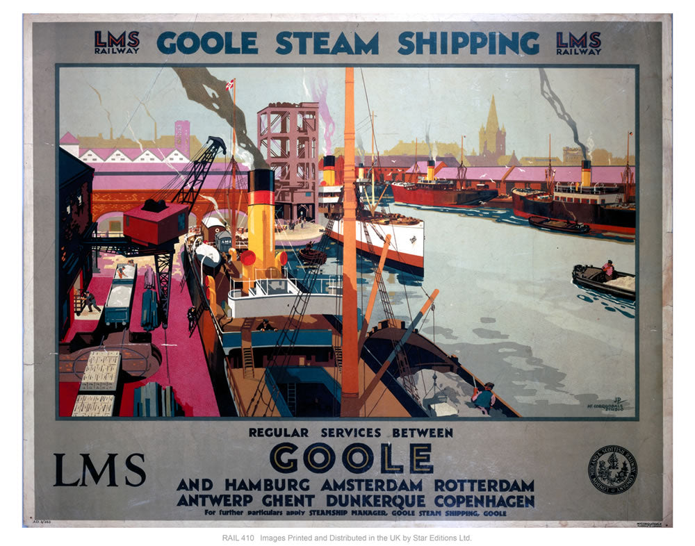 "Goole steam shipping 24"" x 32"" Matte Mounted Print"