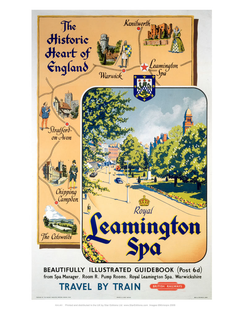 "Historic Heart of england Royal Leamington Spa - British Railways Poster 24"" x 32"" Matte Mounted Print"