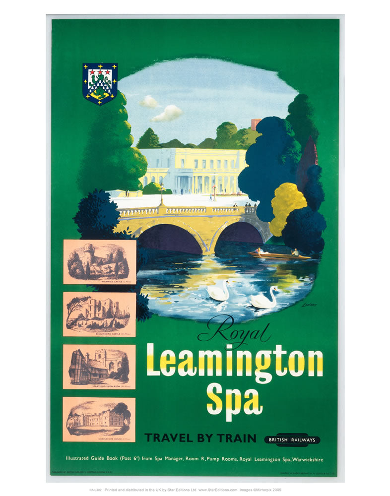 "Royal Leamington spa - Green British Railways Poster 24"" x 32"" Matte Mounted Print"