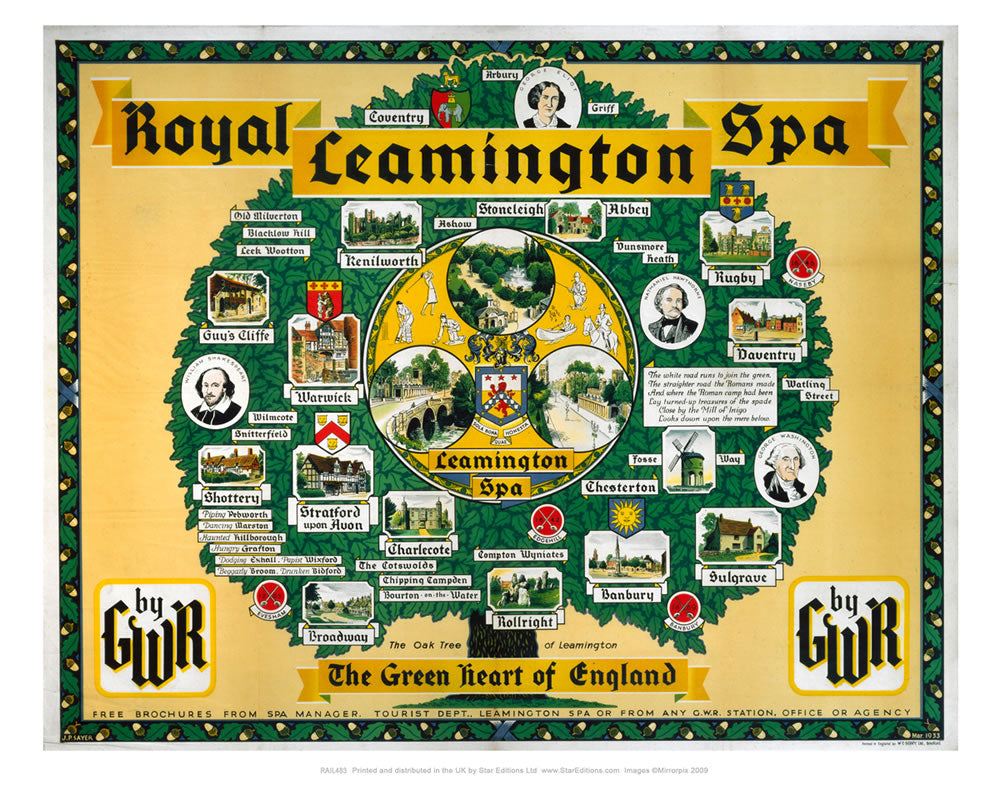 "Royal Leamington Spa - Green Heart of england Tree GWR railway poster 24"" x 32"" Matte Mounted Print"