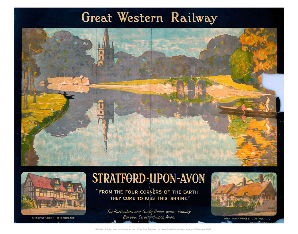 "Stratford-upon-avon - Great western railway Poster - Four corners of the earth 24"" x 32"" Matte Mounted Print"