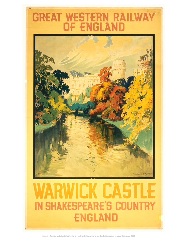 "Warwick Castle - Shakespeare's country yellow Great western railway poster 24"" x 32"" Matte Mounted Print"