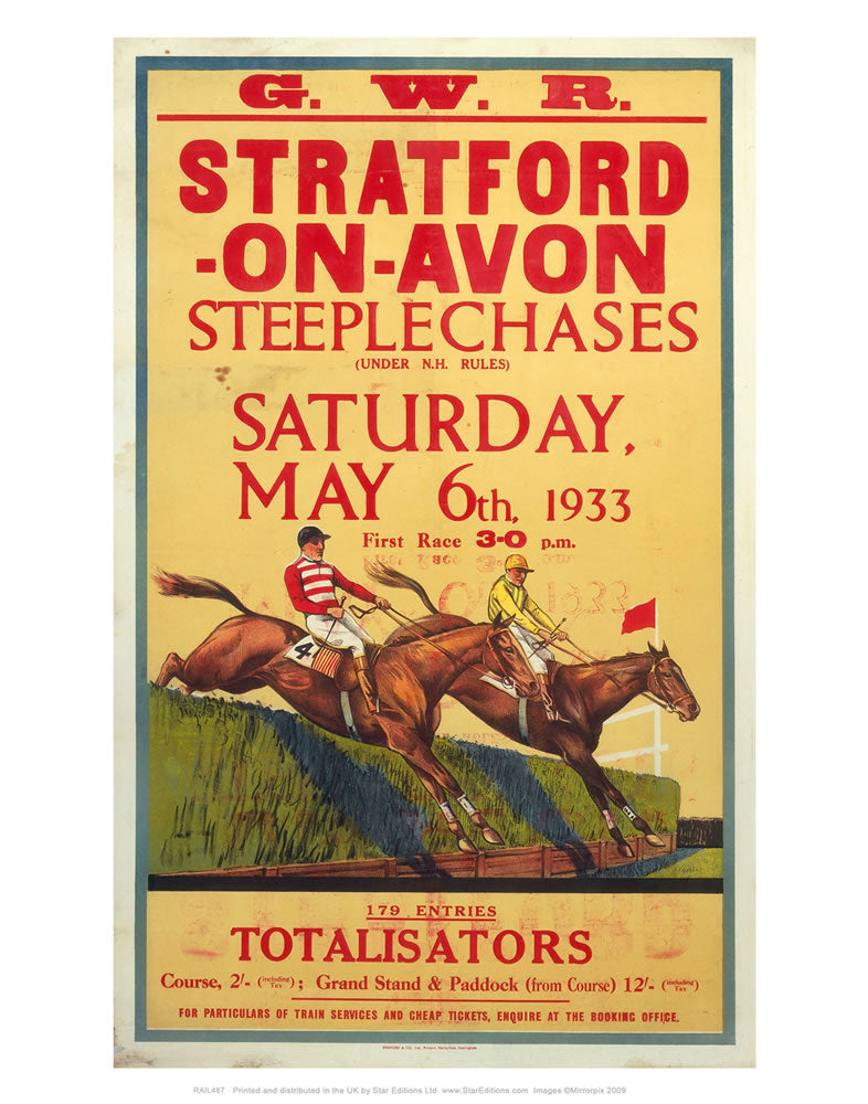 "GWR Stratford-upon-avon - Steeplechases race railway poster 1933 24"" x 32"" Matte Mounted Print"