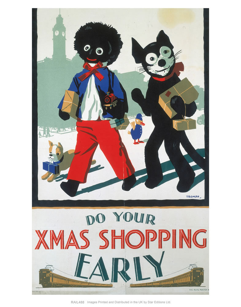 "Do your Xmas Shopping Early - Golliwog and Bulldog with toy train and parcels 24"" x 32"" Matte Mounted Print"