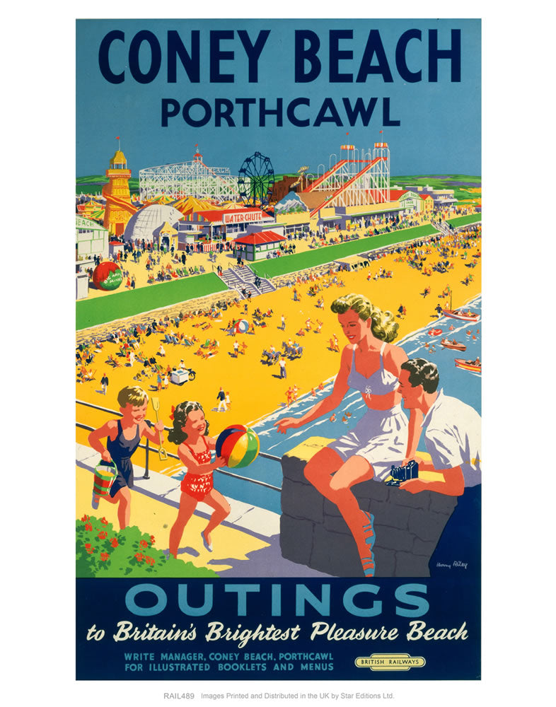 "Coney Beach Porthcawl - Outings to Britain's Brightest Pleasure Beach 24"" x 32"" Matte Mounted Print"