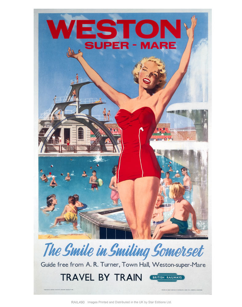 "Weston-super-Mare - The smile in smiling Somerset - Girl in Red at the Swimming pool 24"" x 32"" Matte Mounted Print"