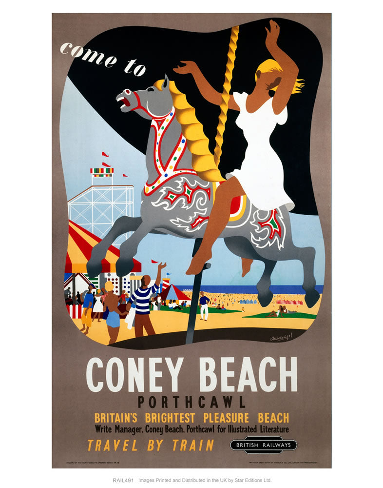 "Coney Beach Porthcawl - Britain's Brightest Pleasure Beach - Carousel 24"" x 32"" Matte Mounted Print"