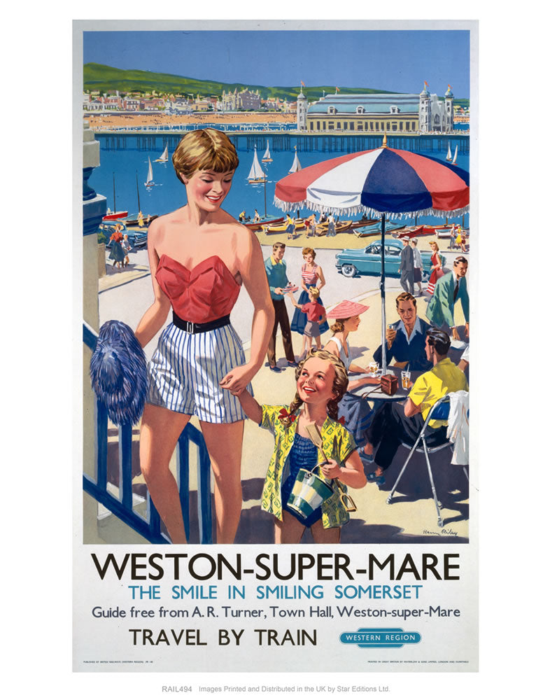 "Weston-super-Mare - The smile in smiling Somerset 24"" x 32"" Matte Mounted Print"