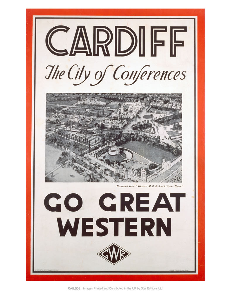 "Cardiff The City of Conferences - Go Great Western 24"" x 32"" Matte Mounted Print"
