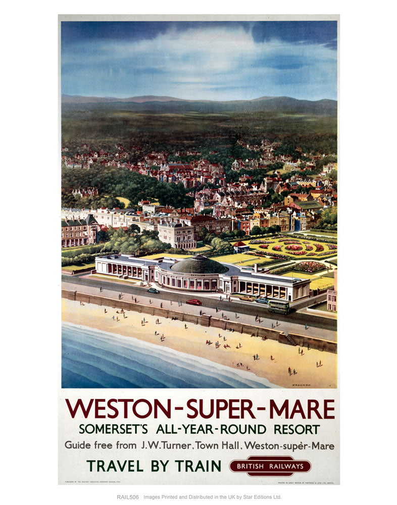 "Weston-super-Mare - Somerset's all-year-round resort 24"" x 32"" Matte Mounted Print"