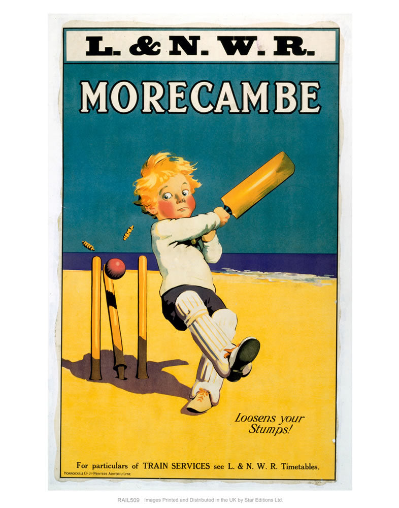 "Morecambe - Loosens your stumps - Cricket on the beach 24"" x 32"" Matte Mounted Print"