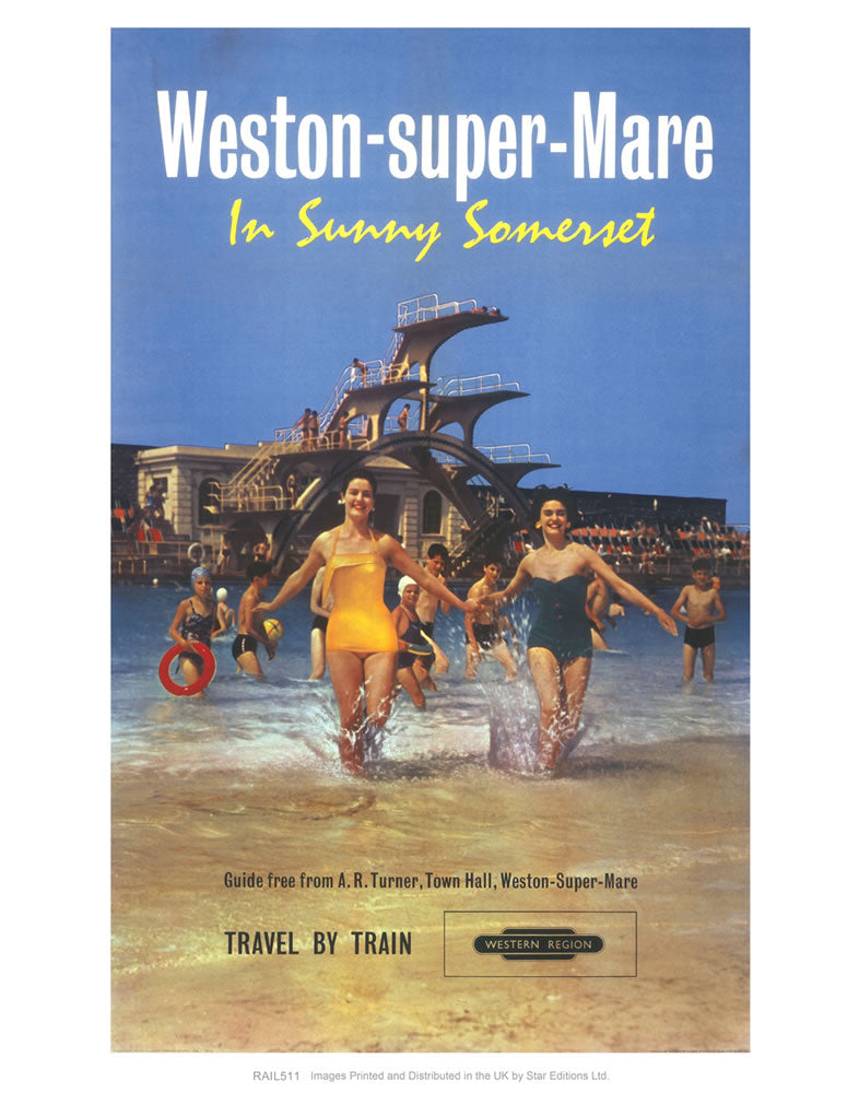 "Weston-super-Mare - In Sunny Somerset 24"" x 32"" Matte Mounted Print"