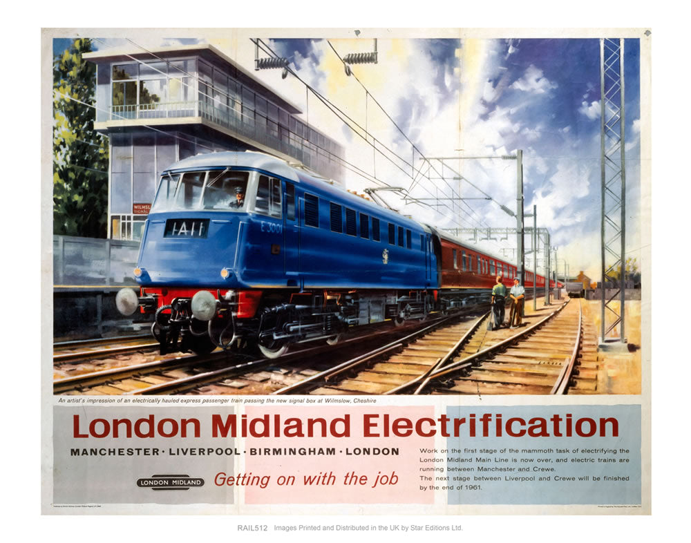 "London Midland Electrification - Getting on with the Job - Wilmslow Cheshire 24"" x 32"" Matte Mounted Print"
