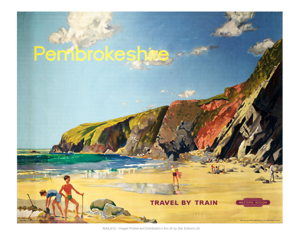 "Pembrokeshire Travel by Train - Beach scene 24"" x 32"" Matte Mounted Print"