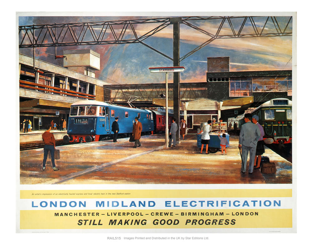 "London Midland Electrification - Still making good progress 24"" x 32"" Matte Mounted Print"