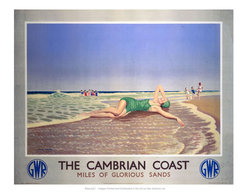 "The Cambrian Coast - Miles of Glorious Sands GWR 24"" x 32"" Matte Mounted Print"
