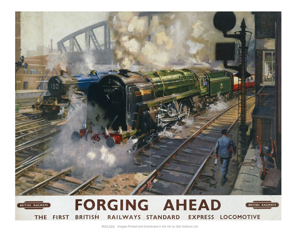 "Forging Ahead - Express Locomotive 24"" x 32"" Matte Mounted Print"