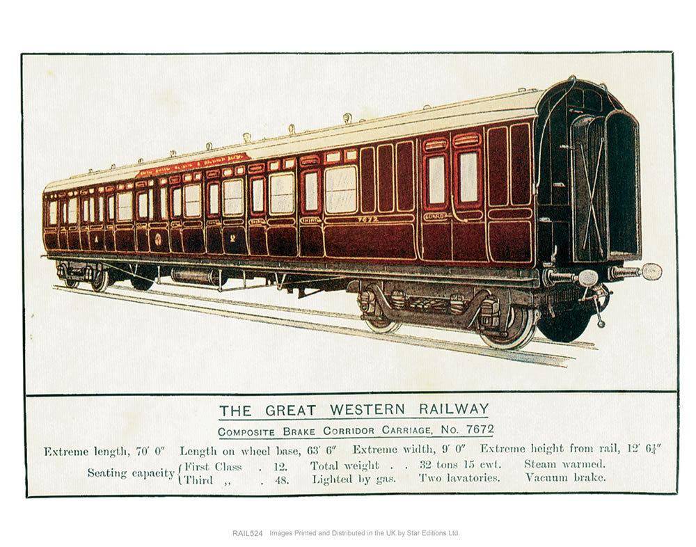"Composite Brake Corridor Carriage No. 7672 - Great Western Railway 24"" x 32"" Matte Mounted Print"