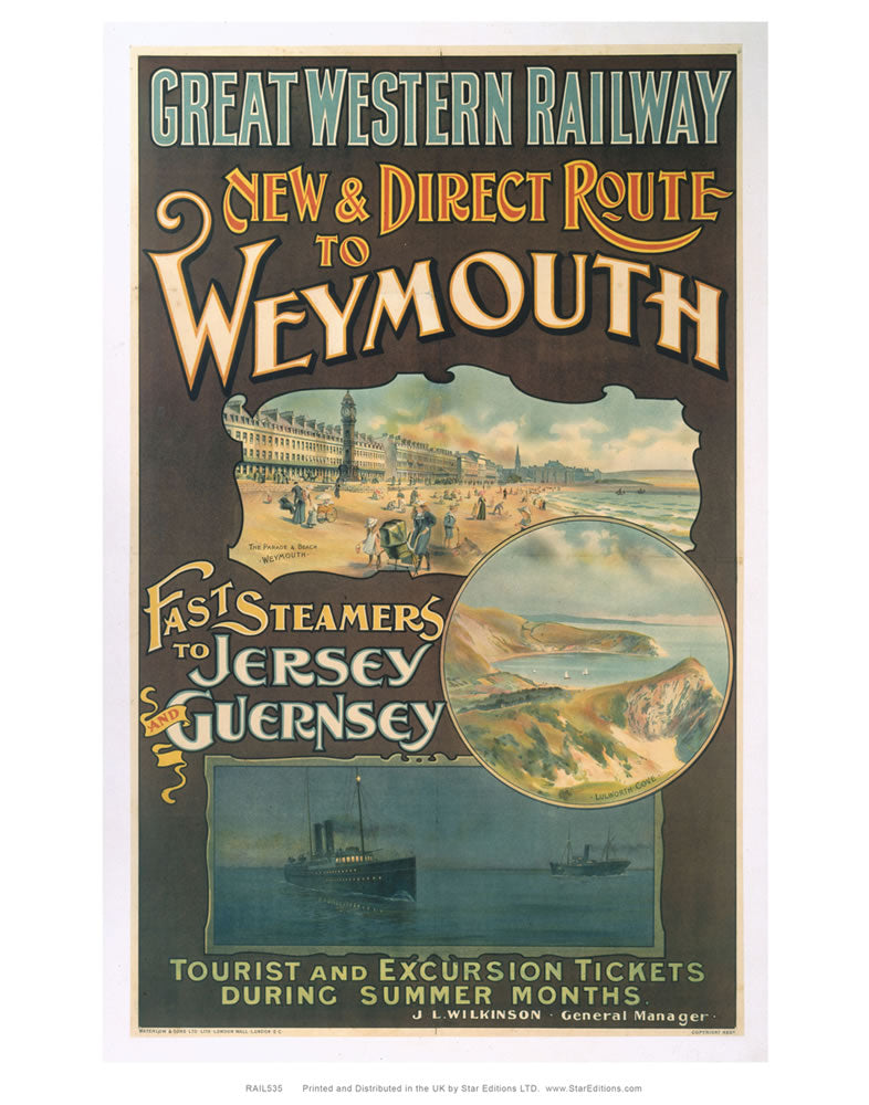 "Direct route to Weymouth - Great Western Railway Poster 24"" x 32"" Matte Mounted Print"