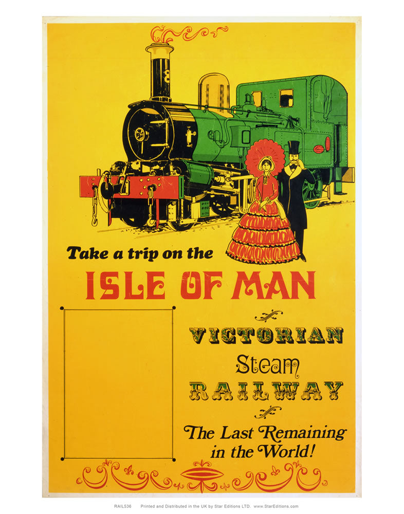 "Isle of Man Trip - Victorian steam railway yellow poster 24"" x 32"" Matte Mounted Print"