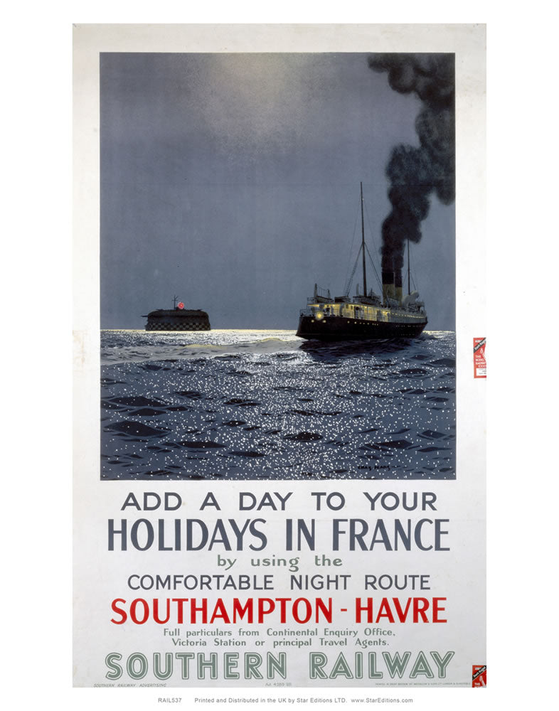 "Holiday in France - Southampton to Havre Souther Railway Poster 24"" x 32"" Matte Mounted Print"
