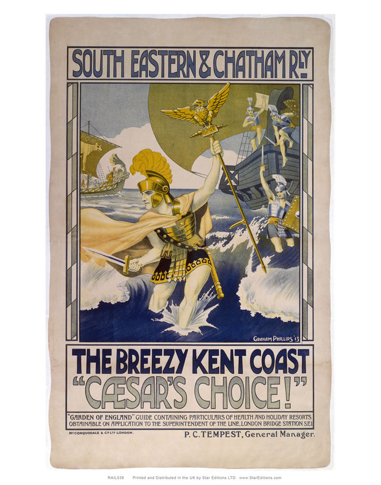 "South Eastern and Chatham railway poster - Brezzy Kent Coast ceasars choice 24"" x 32"" Matte Mounted Print"