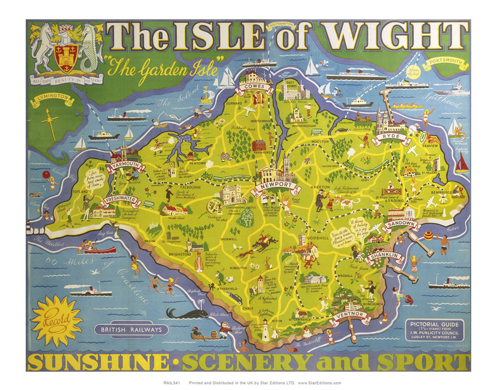 "Isle of Wight - The garden Isle island map poster - Sunshine scenery and sport 24"" x 32"" Matte Mounted Print"