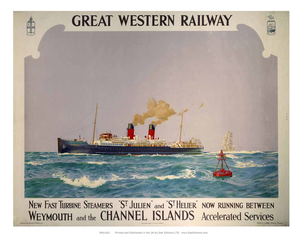 "Great Western railway - Steamers weymouth and channel islands poster 24"" x 32"" Matte Mounted Print"