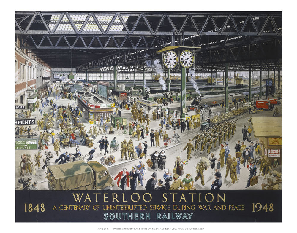 "Waterloo Station - Southern Railway 1848 to 1948 commemorative poster 24"" x 32"" Matte Mounted Print"