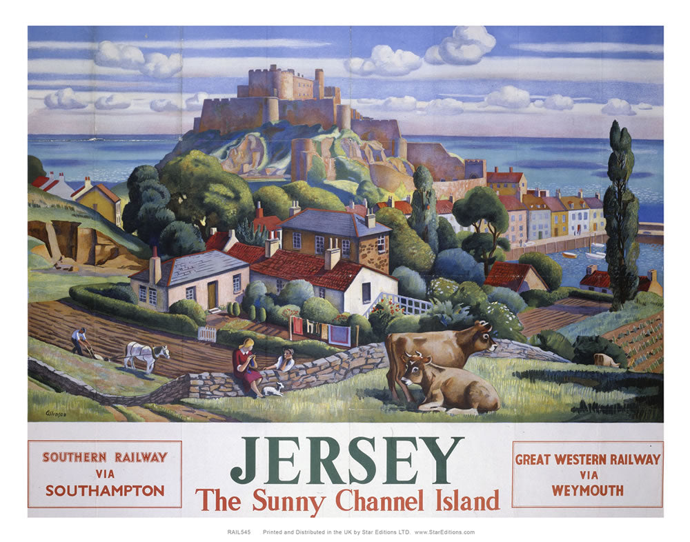 "Jersey The sunny channel island via wetmouth- Great wester railway poster 24"" x 32"" Matte Mounted Print"