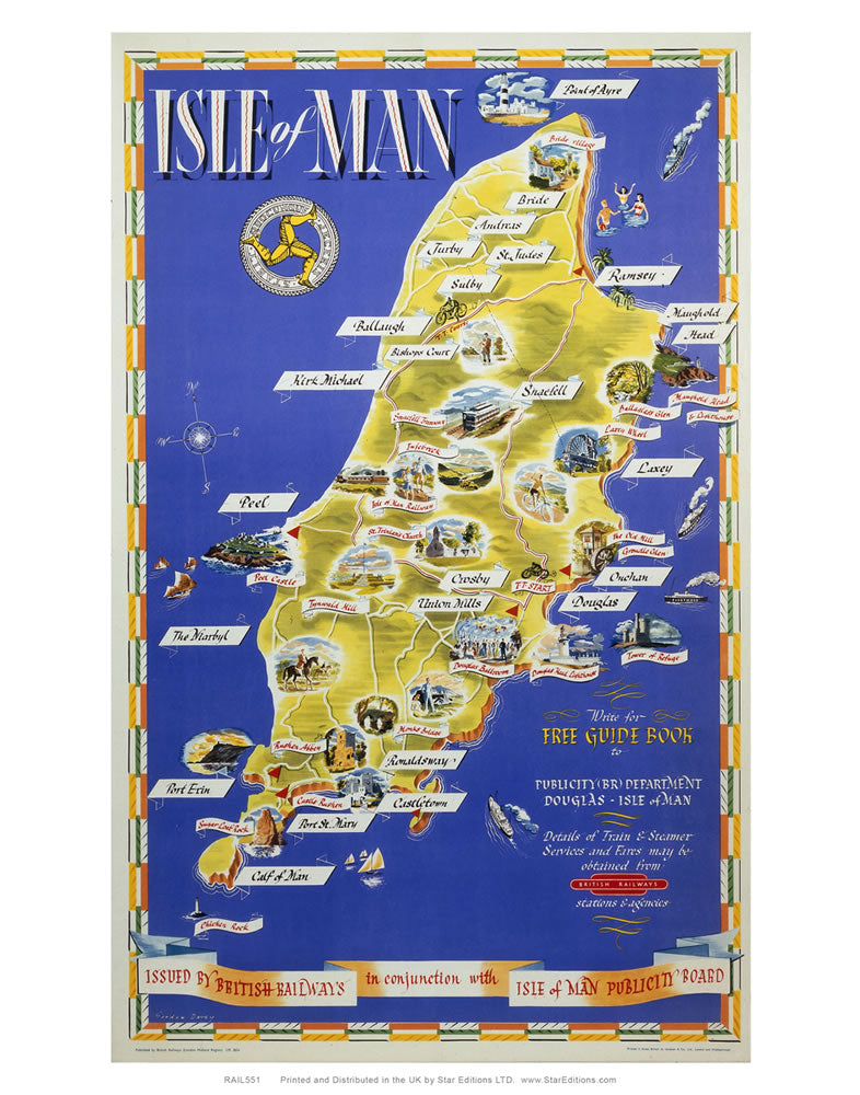 "Isle of Man Map poster - British Railways Isle of man Publicity board 24"" x 32"" Matte Mounted Print"