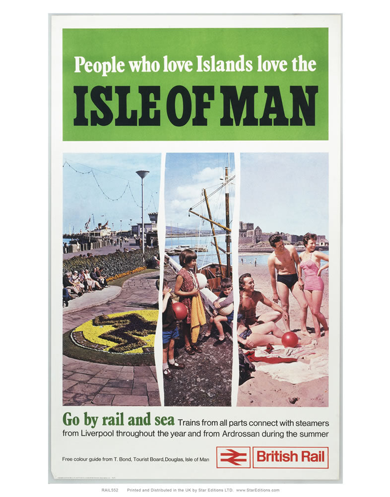 "Isle Of man - go by rail and see 3 image poster 24"" x 32"" Matte Mounted Print"