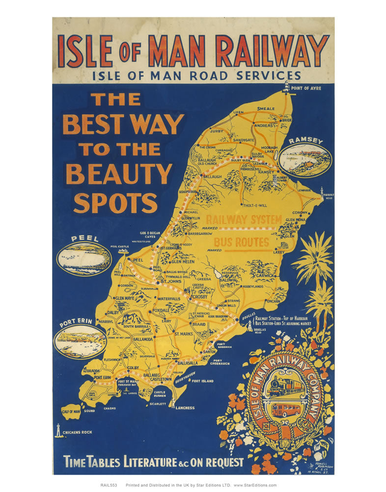 "Isle Of Man Railway - The best way to the beauty spots railway poster 24"" x 32"" Matte Mounted Print"