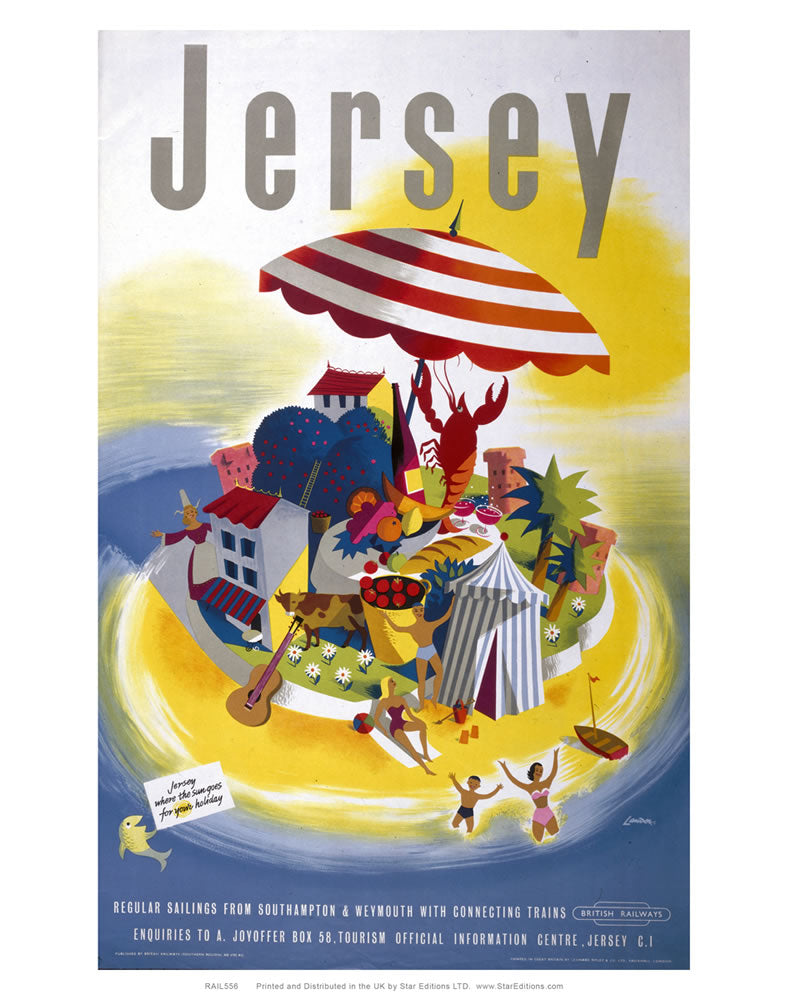 "Jersey regular sailings from Southampton and weymouth - British rail poster 24"" x 32"" Matte Mounted Print"