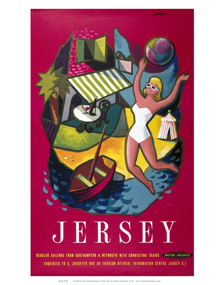 "Jersey red British rail Poster - Woman in white swimsuit 24"" x 32"" Matte Mounted Print"