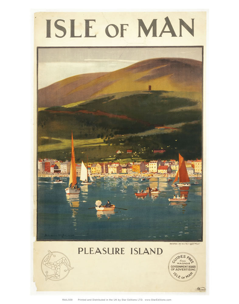 "Isle Of Man Pleasure Island Poster 24"" x 32"" Matte Mounted Print"