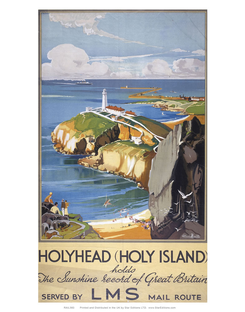 "HolyHead record of great britain - Holy Island LMS poster 24"" x 32"" Matte Mounted Print"
