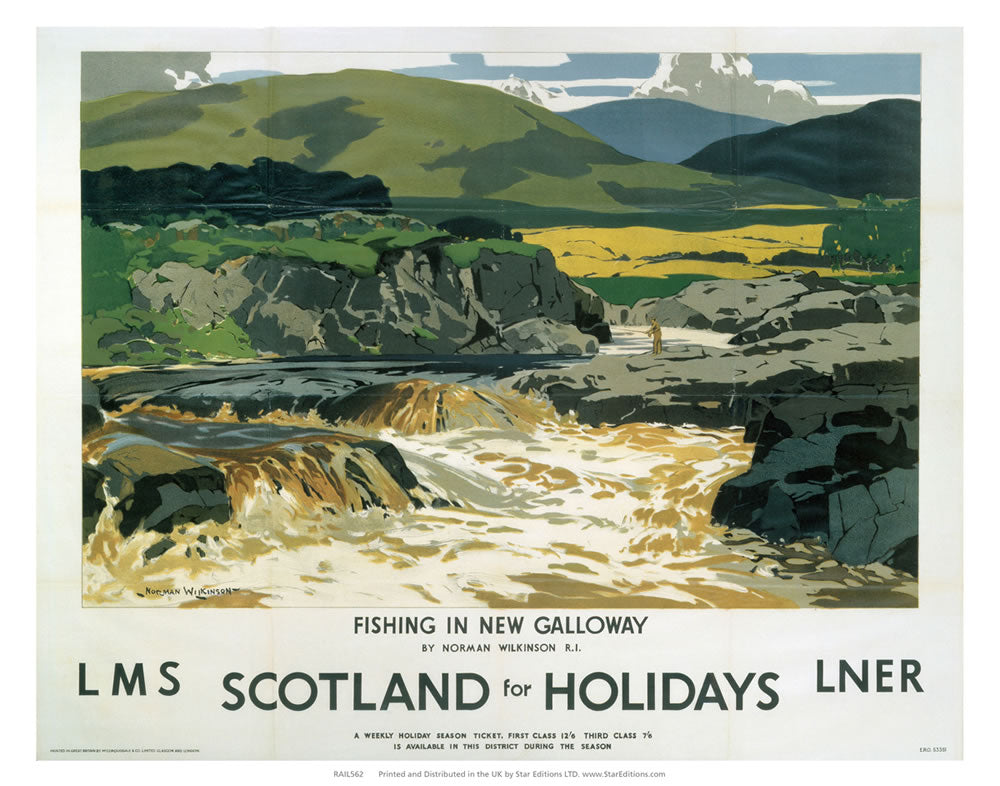 "Fishing In Galloway - Scotland For Holidays LMS LNER railway poster 24"" x 32"" Matte Mounted Print"