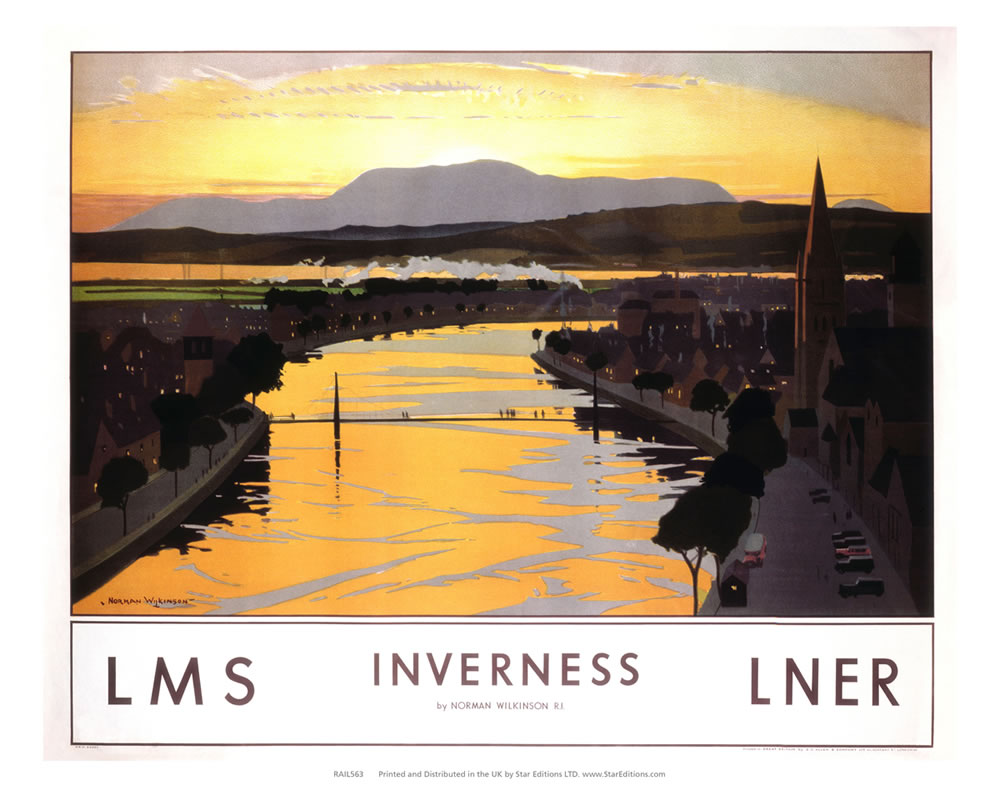 "Inverness Sunset - LMS LNER Railway Poster 24"" x 32"" Matte Mounted Print"