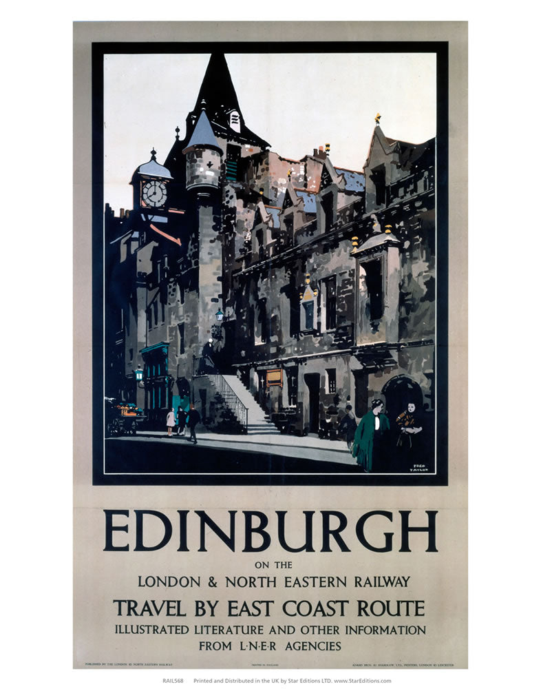 "Edinburgh - London and North Eastern railway east coast LNER Poster 24"" x 32"" Matte Mounted Print"